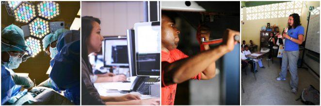 Trabalhadores em áreas distintas: 1 - Saúde 2 - Informática 3 - Mecânica de automotores 4 - Ensino